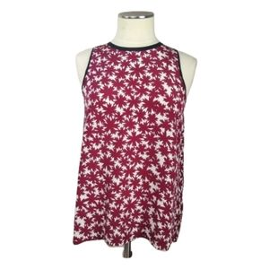 MADEWELL Silk Sleeveless Top Pressed Flower Red